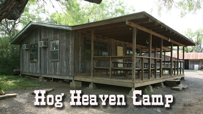 Hog Heaven Camp House from the outside. Brushy Hill Ranch offers Texas' BEST trophy Whitetail hunting at some of the LOWEST, and most AFFORDABLE, prices! Book your next Trophy Whitetail Deer hunt with Brushy Hill Trophy Bowhunting!