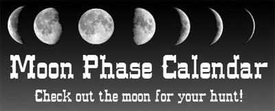 Click on this image to find the moon cycle for your hunt. Whitetail deer move more at night during a full moon, or near a full moon, than they do when there's no moon. Wild hogs and wild Boar are best hunted during a full moon. Before booking an affordable Whitetail deer hunt, Turkey hunt or Wild Hog or Wild Boar hunt, MAKE SURE to check that the moon will be where you want it!